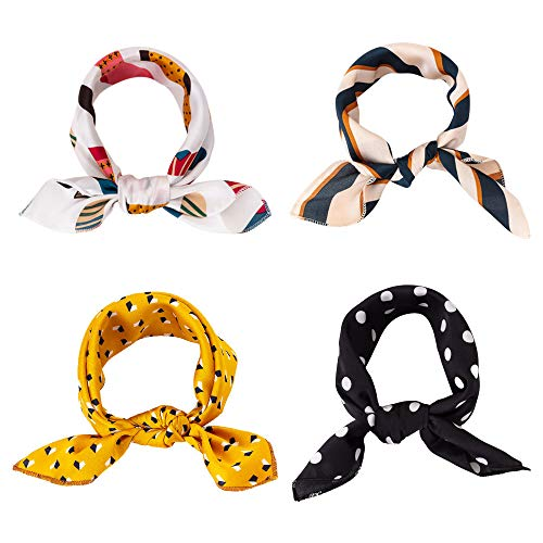 - 4Pack Square Scarf for Women's Neck Scarf Decorative Dots Floral Striped Neckerchief Scarfs (4Pcs Square Scarf)