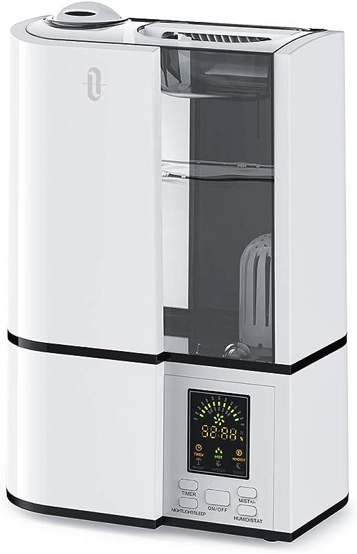 TaoTronics - Humidificador de ambiente ultrasónico, purificador de aire 4 L, pantalla LED, 14 horas de duración para radiadores, modo de humedad constante, niebla regulable, temporizador, modo aniones, color gris: Amazon.es: Hogar