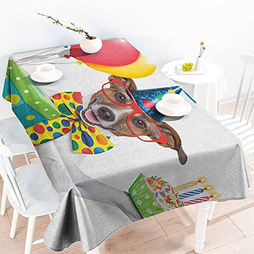 (EwaskyOnline Washable Tablecloth,Kids Birthday Waiter Server Party Dog with Hat Cone Cupcake Balloons Celebration Boxes,Table Cover for Dining,W54x90L, Multicolor)