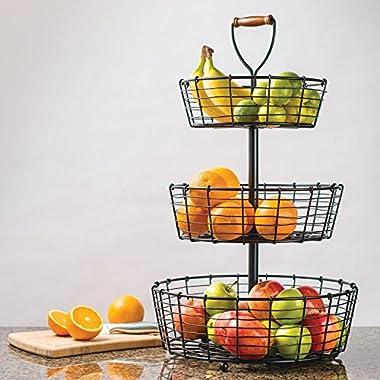 Giftburg 3-Tier Wrought Iron Display Wire Basket, 25.5 Inch Tall