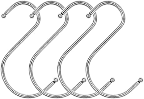 Silver Tone Metal S Shaped Design Hook Clothes Coat Hanger