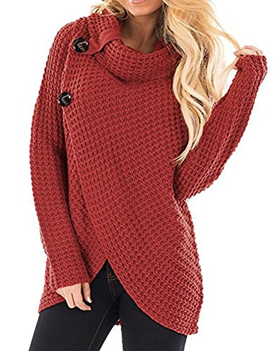 cowl neck button sweater - 2