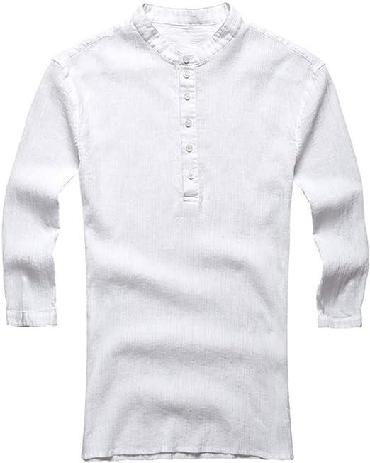 MISSLYY Camisa Casual de Hombre 3/4 Manga Camisa de Verano de Hombre Camisa Casual: Amazon.es: Jardín
