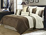 Chezmoi Collection 8-Piece Luxury Stripe Duvet Cover Set (King, Brown/Off-white/Taupe)