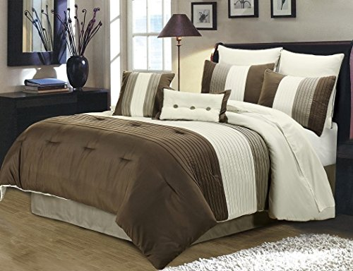 Chezmoi Collection 8 Pieces Luxury Striped Comforter Set (King, Brown/Off-white/Taupe) - Brown King Bed Comforter Set