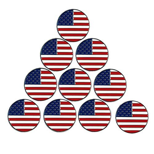 PINMEI Lot of 10 Golf Ball Markers Assorted Patterns - Soft Enamel Technique (American Flag)