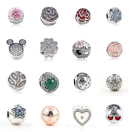 Color: 15 Pukido Authentic 925 Sterling Silver Clip Stopper Bead Charm Women Original Charms Fit DKG Bracelets Bangles DIY Jewelry 35 Styles