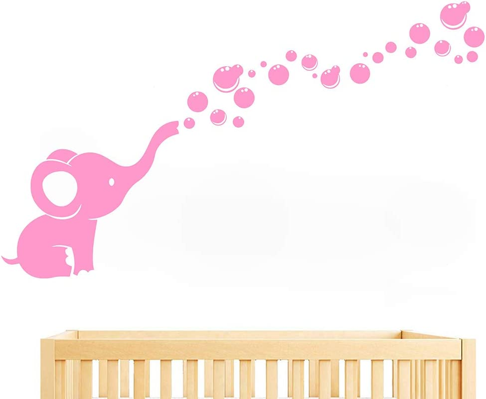 Elephant Blowing Bubbles Wall Sticker Nursery Room Wall Decor Girls Boys Baby Bedroom Art Removable Vinyl Murals WS78 (Pink)