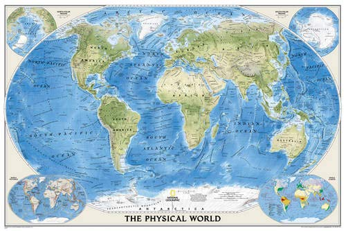 National Geographic: World Physical Enlarged Wall Map - Laminated (69.25 x 46.25 inches) (National Geographic Reference Map)