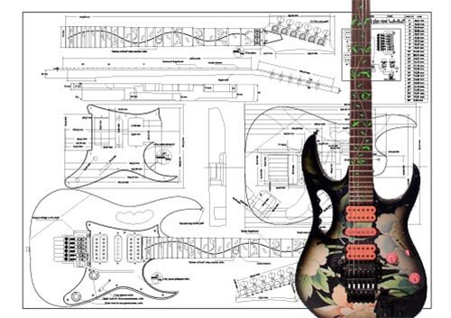 Plan of Ibanez JEM Electric Guitar - Full Scale Print by Luthiers Supplies