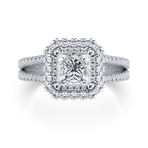 Solitaire 1.75ct Brilliant Cut Princess Round Diamond 10k White Gold Engagement Wedding Ring,All US Size 4 to 12 available
