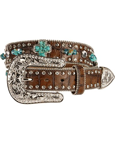 Nocona Women's Turquoise-Hue Stone Cross And Croc Print Leather Belt Brown Small - Nocona Crystal Concho Belt