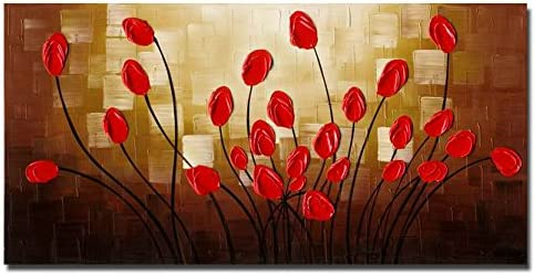 Wieco Art Extra Large Budding Flowers Modern Wrapped 100 Hand Painted Contemporary Abstract Red Floral Oil Paintings Artwork on Canvas Wall Art for Living Room Bedroom Home Decorations