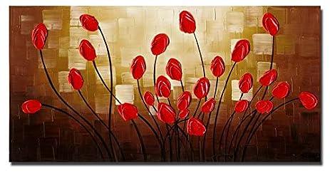 Amazon.com: Wieco Art - Extra Large Budding Flowers Modern Wrapped ...