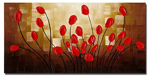 Wieco Art Extra Large Budding Flowers Modern Wrapped 100% Hand Painted Contemporary Abstract Red Floral Oil Paintings Artwork on Canvas Wall Art for Living Room Bedroom Home Decorations by Wieco Art