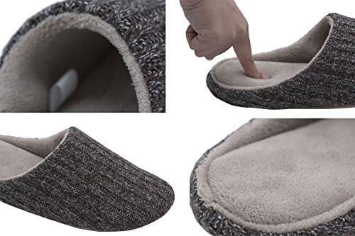 HomeTop Männer Kaschmir Baumwolle Strickpantoffeln Zuhause Hausschuhe Dunkelgrau