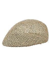 Men Mesh Summer Flat Cap Newsboy Beret Solid Ivy Cap Cabbie Driving Straw Hat