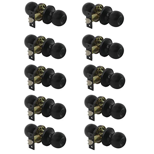 Privacy Ball Lockset (Probrico Round Ball Privacy Door Handles Lock Sets Black Keyless Interior Door Knobs Handleset for Bed or Bath(10 Pack))