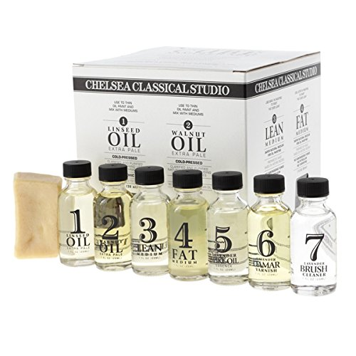 Chelsea Classical Studio Complete Oil Painting Mediums Sampler Set - Sampler Set of Brush Cleaners, Varnishes, Mediums, Linseed Oil, Walnut Oil, and Brush Soap - [Sampler Set] - Set Painting Oil Complete