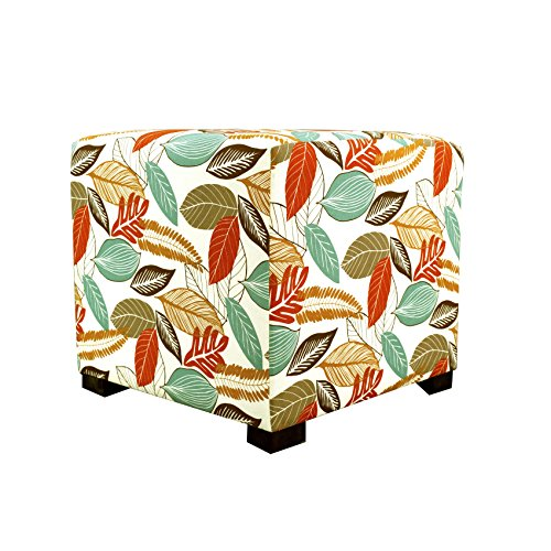MJL Furniture Designs Merton Collection, Fabric Upholstered Modern Cube Foot Rest Ottoman with 4 Button Tufting, Floral Foliage Series, Driftwood by MJL Furniture Designs (Image #4)