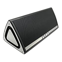 HyperPS JCBL01 3D HD Bluetooth 4.0 Wireless 5W + 5W Speaker with Passive Sub Woofer for 12 Hours Music & Hands-Free Calling, Built-in Mic, 3.5mm Audio AUX Port, Tf card, FM Radio, Clock/Alarm (Black)