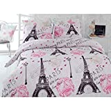 100% Polialgodón Paris in love Edredón (160 x 220 cm), Sabanas (160 x 240 cm) y funda de almohada (50 x 70 cm) Set Juego Cama Lino 4 piezas