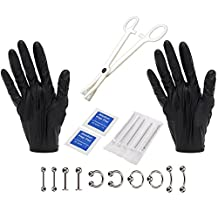 Elisona-Professional Disposable Piercing Tool Kit with Pliers Gloves Piercing Needles Jewelry Nails Rings
