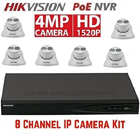 Hikvision DS-7608NI-E2 8P 8CH 8 POE NVR 6pcs DS-2CD2342WD-I 2.8mm 4MP POE Turret Camera Kit