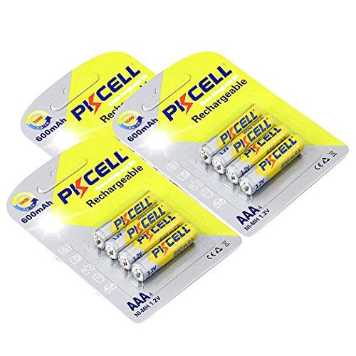 12pcs NiMh AAA Rechargeable Batteries 1.2V 600mAh NI-MH 3A PKCELL Battery