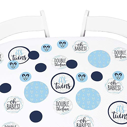 Big Dot of Happiness It's Twin Boys - Blue Twins Baby Shower Giant Circle Confetti - Party Decorations - Large Confetti 27 Count