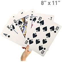"""EasyGoProducts 8"""" X 11"""" Super Big Giant Playing Cards – Novelty Jumbo Cards for Kids, Teens or Seniors – Large Print – Poker Full Deck of Cards - Lowest Price on Amazon"""
