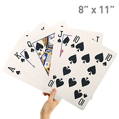 "8"" X 11"" Super Big Giant Playing Cards – Novelty Jumbo Cards for Kids, Teens or Seniors – Large Print – Poker Full Deck of Cards - Lowest Price on (How Much Are Halloween Costumes)"