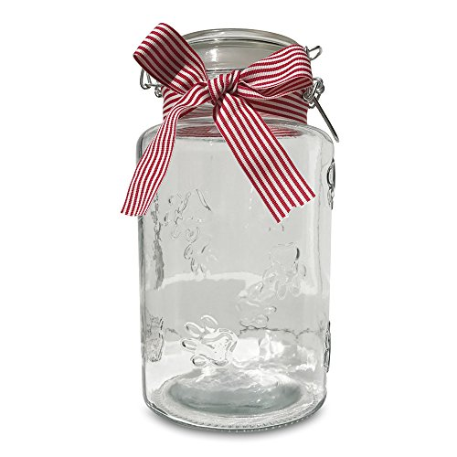 (WHW Whole House Worlds Iconic Clear Glass Kitchen Storage Jar for Dog Biscuits, Raised Paw Pattern, Air Tight Seal, Ribbon Decoration, 4 3/4 Diameter x 9 1/2 High Inches (Over 2 Quarts))