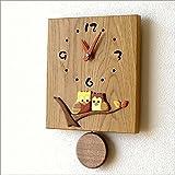 壁掛け時計 木製 おしゃれ 日本製 ウォールクロック 木の振り子時計 スクエア [hkp7812]