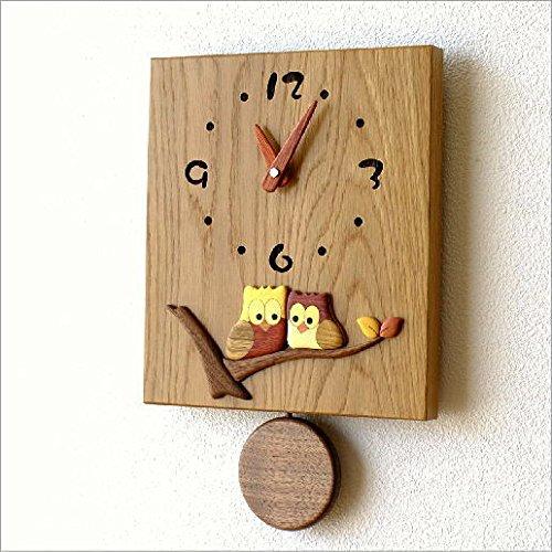 壁掛け時計 木製 おしゃれ 日本製 ウォールクロック 木の振り子時計 スクエア [hkp7812] B01G4UI5VK