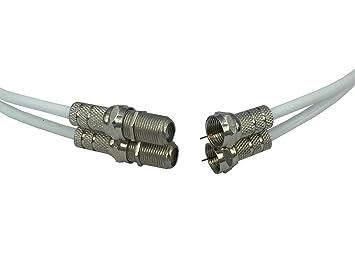 5 m blanco bifilar para Cable Coaxial por electrosmart® F conectores y acopladores para ampliar
