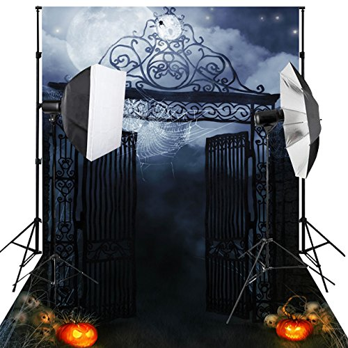 Kooer 6X9ft Halloween backdrops Night Spider Web on Iron Gate Pumpkin Vinyl Fabric Photo Background for - Spider Intense Cycles