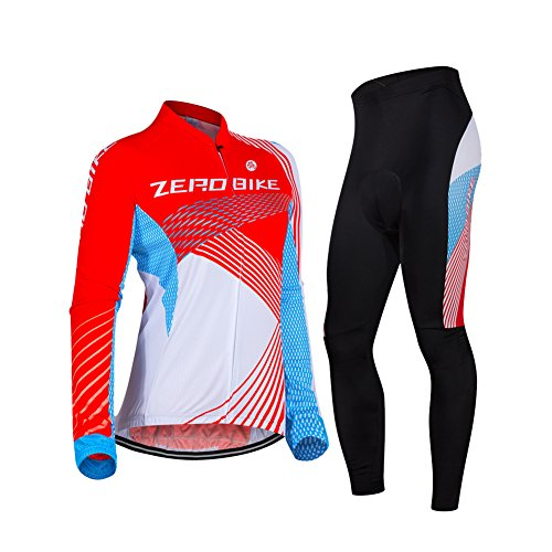 (ZEROBIKE Women's Breathable Long Sleeve 3D Gel Padded Bicycle Cycling Suit Mesh Cloting Pants Set UV)