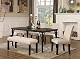 Roundhill Furniture T163-C162TA-C162TA-CB162TA Biony 6-Piece Wood Dining Set with Nailhead Chairs and Bench, Tan