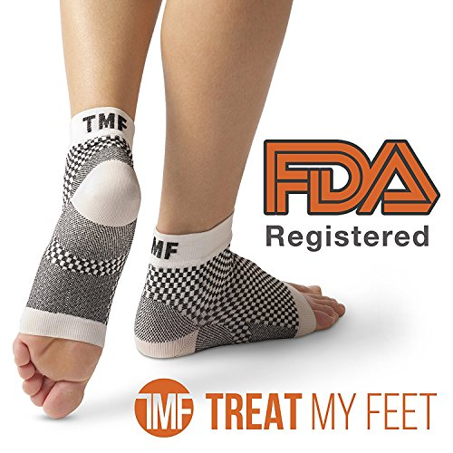 Plantar Fasciitis Sock & Compression Foot Sleeve: FDA-Registered, More Comfortable Than Night Splint For Heel Spur, Ankle, Arch Support - Edema Relief Orthopedic Socks By Treat My Feet - Large