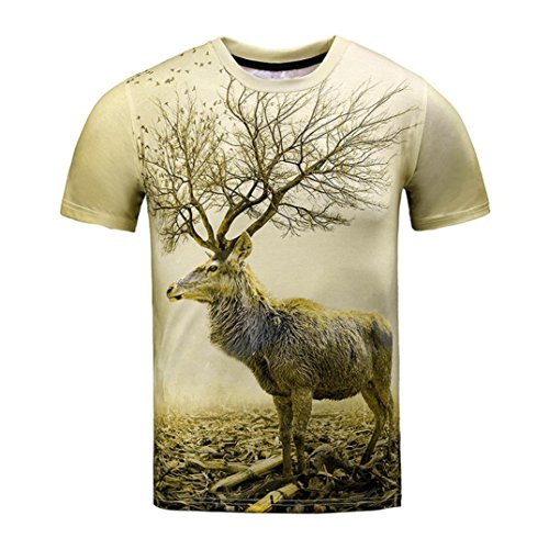 Clearance Deals T-Shirt, ZYooh 2018 Funny Boys Men 3D Graphic Deer Printed Cat Short Tee Tops (Brown, M) (Hem Peasant Top)
