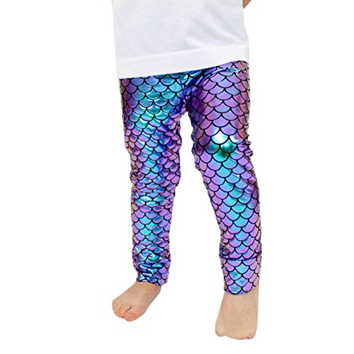 Fish Girl Fitted Shirt - Kids Baby Girls Mermaid Fish Stretch Long Leggings Tight Pants (4-5 Years, A)