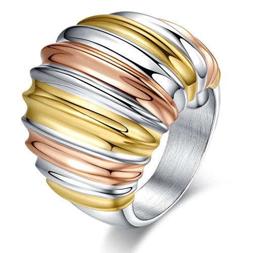 Vintage Stainless Steel Multi-Color Big Head Ring,Gold Plated,,Rose Gold Plated,22mm Width,Size 6 ()