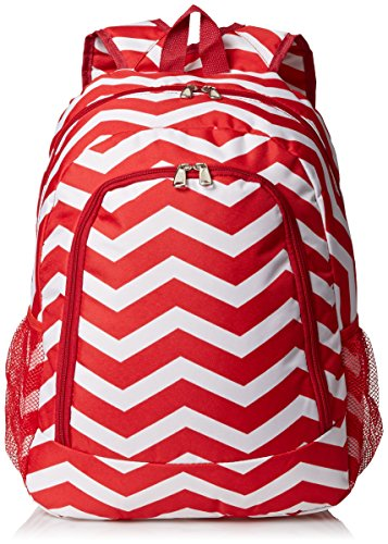 World Traveler Multipurpose Backpack 16-Inch, Red White Chevron, One Size