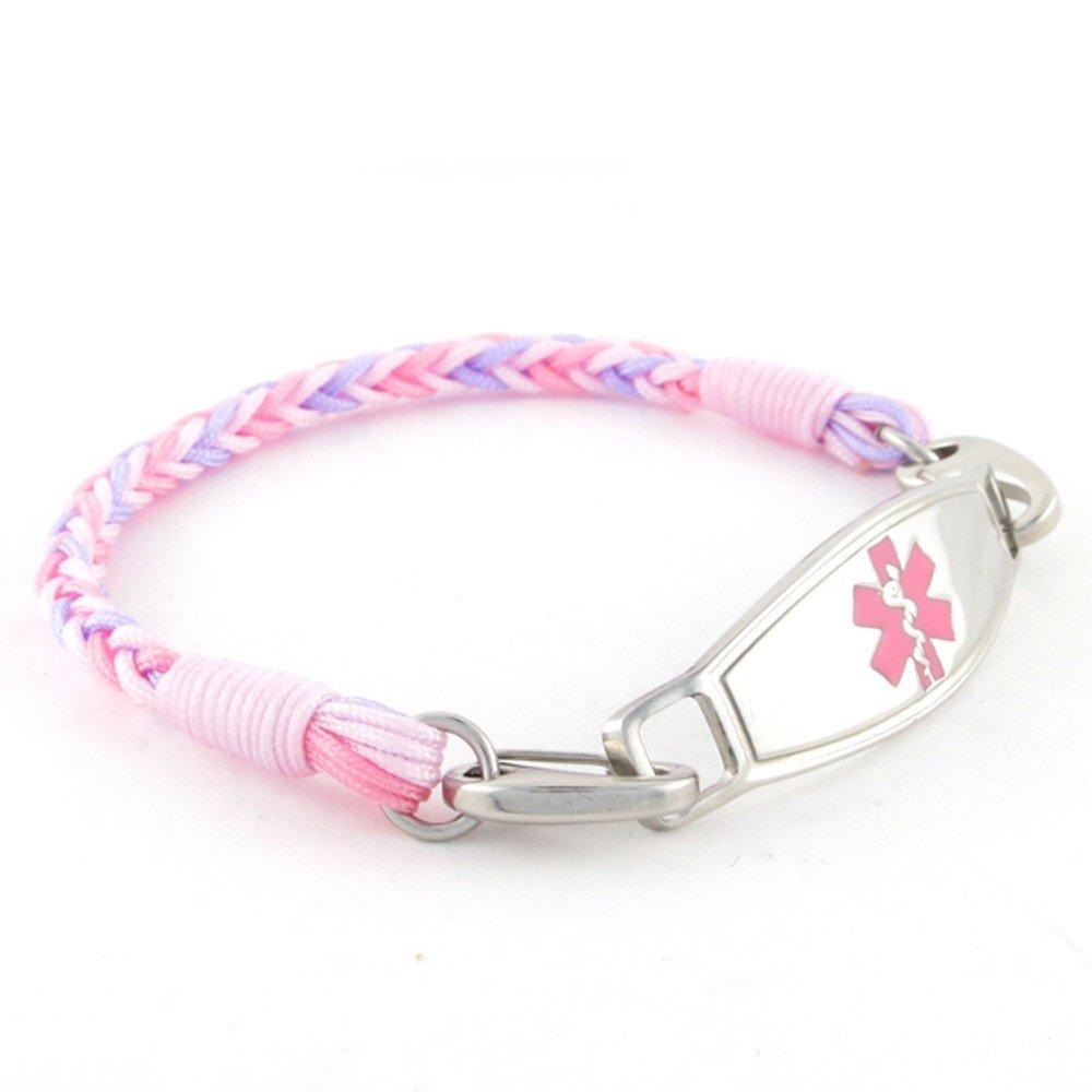 Braided Medical Alert ID Bracelet - Custom Engraving Included -Fun, Modern & Casual - Candy