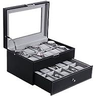 BEWISHOME Watch Box Organizer 20 Men Display Storage Case Metal Hinge Black PU Leather Glass Top...