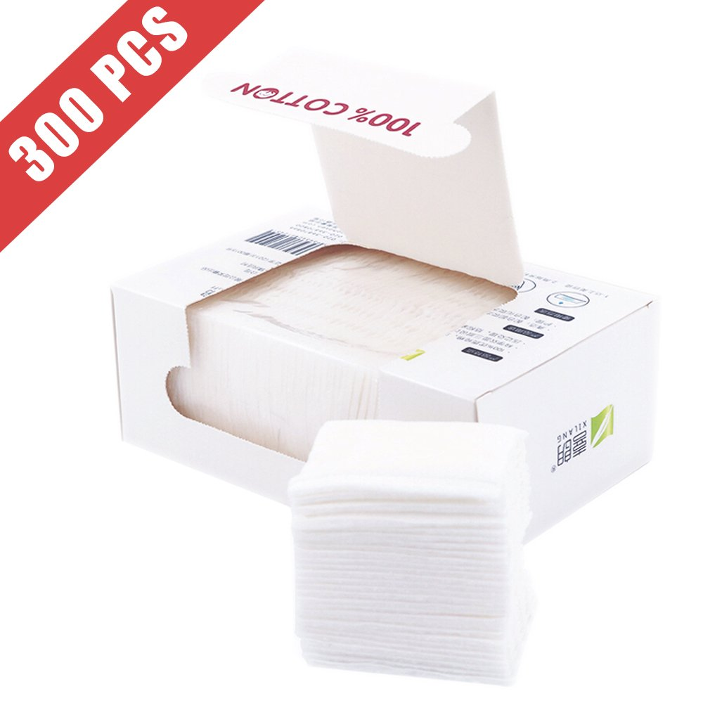 Healon Cotton Squares 100% Natural Cotton Pads Makeup Face Cleansing Pads Soft Hypoallergenic and Lint free Cotton Wipes 300pcs