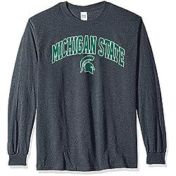 Elite Fan Shop NCAA Men's Michigan State Spartans Long Sleeve Shirt Dark Heather Arch Michigan State Spartans Dark Heather X Large