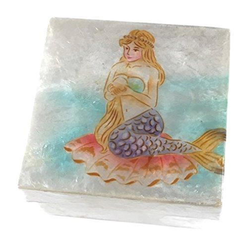 Printed Capiz Shell (Kubla Craft Pastel Mermaid Capiz Shell Keepsake Box 3 x 3)