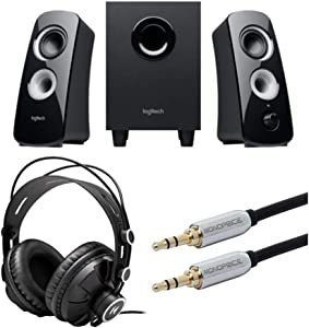 Logitech Speaker System Z323 with Subwoofer Bundle with Knox Gear Headphones and Audio Cable (3 Items)